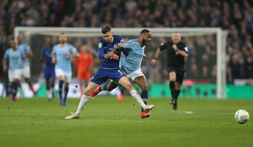 Manchester City's Raheem Sterling is challenged by Chelsea's Jorginho<br /> <br /> Photographer Rob Newell/CameraSport<br /> <br /> The Carabao Cup Final - Chelsea v Manchester City - Sunday 24th February 2019 - Wembley Stadium - London<br />  <br /> World Copyright © 2018 CameraSport. All rights reserved. 43 Linden Ave. Countesthorpe. Leicester. England. LE8 5PG - Tel: +44 (0) 116 277 4147 - admin@camerasport.com - www.camerasport.com
