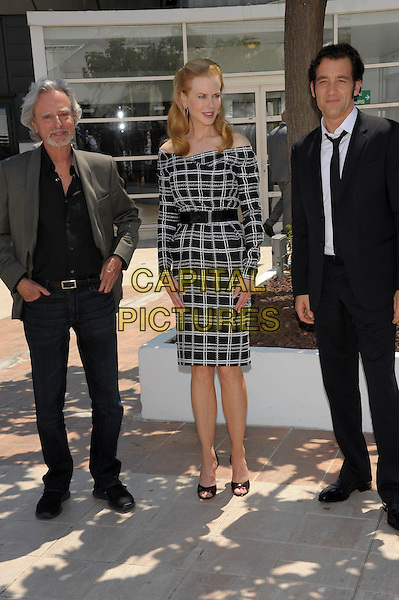 Philip Kaufman, Nicole Kidman & Clive Owen.'Hemingway & Gellhorn' Photocall during the 65th Annual Cannes Film Festival at Palais des Festivals, Cannes, France..25th May 2012.full length white check dress grey gray black belt off the shoulder suit.CAP/PL.©Phil Loftus/Capital Pictures.