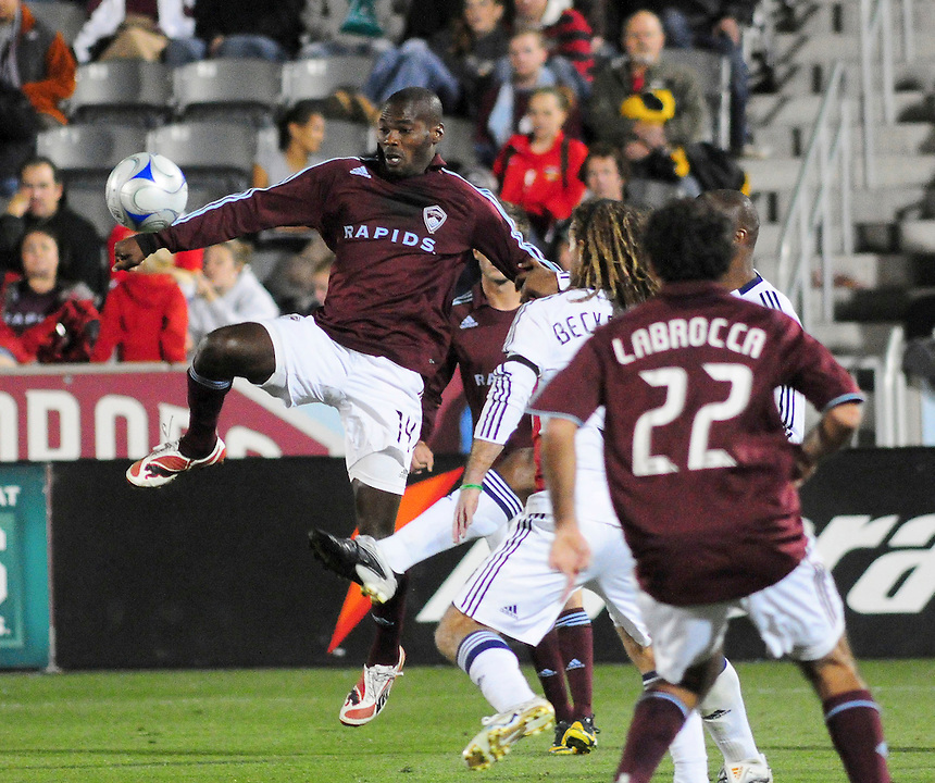 25 October 08: Rapids forward Omar Cummings tries to control the ball against Real Salt Lake. Real Salt Lake tied the Colorado Rapids at Dick's Sporting Goods Park in Commerce City, Colorado. The tie advanced Real Salt Lake to the playoffs.