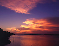 IA013 sunset. Lake Red Rock Reservoir Iowa United States of America Marion County.