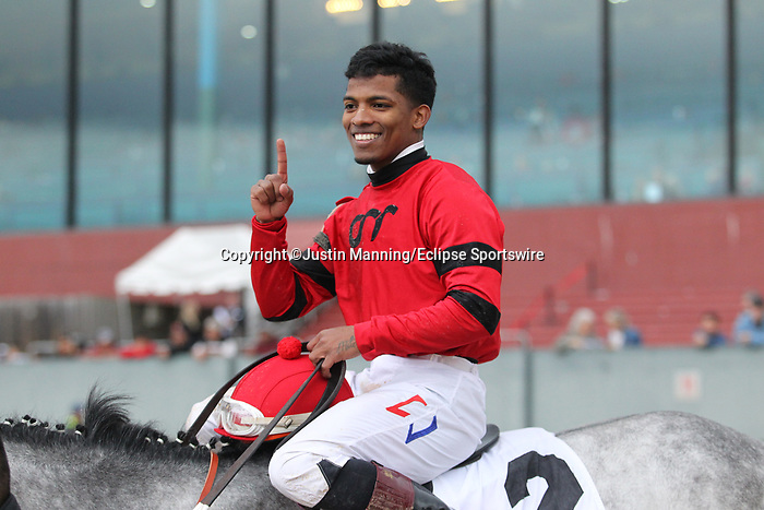 February 17, 2020: Jockey Ricardo Santana Jr. after winning the Southwest Stakes at Oaklawn Racing Casino Resort in Hot Springs, Arkansas on February 17, 2020. Justin Manning/Eclipse Sportswire/CSM