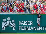 19 September 2015: Miami Marlins outfielder Marcell Ozuna is unable to get to a home-run ball during game action against the Washington Nationals at Nationals Park in Washington, DC. The Marlins fell to the Nationals 5-2 in the third game of their 4-game series. Mandatory Credit: Ed Wolfstein Photo *** RAW (NEF) Image File Available ***