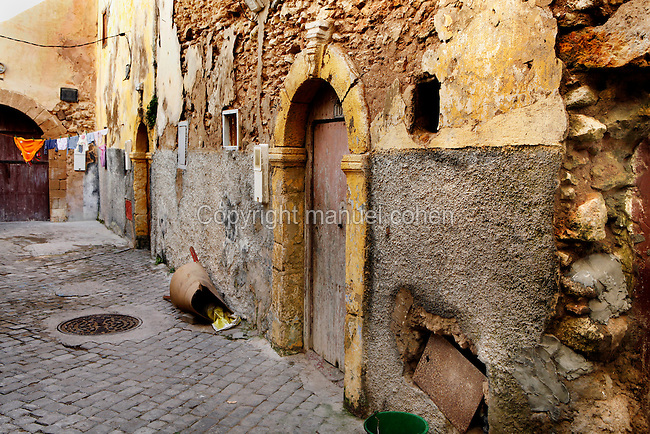 "Narow street of the old city of the Portuguese Fortified city of Mazagan, El Jadida, Morocco. El Jadida, previously known as Mazagan (Portuguese: Mazag""o), was seized in 1502 by the Portuguese, and they controlled this city until 1769.  Picture by Manuel Cohen"
