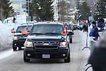 World Economic Forum - WEF - Davos 2018. A limousine carrying US President Donald J. Trump leaves Davos on January 26, 2018; <br /> <br /> Pictured: