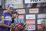 Julian Alaphilippe (FRA) Quick-Step Floors wins La Fleche Wallonne 2018 with Alejandro Valverde (ESP) Movistar Team in 2nd place, running 198.5km from Seraing to Huy, Belgium. 18/04/2018.<br /> Picture: ASO/Thomas Maheux | Cyclefile.<br /> <br /> All photos usage must carry mandatory copyright credit (&copy; Cyclefile | ASO/Thomas Maheux)