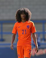 Tahiti Chong (Manchester United) of Holland during the International match between England U19 and Netherlands U19 at New Bucks Head, Telford, England on 1 September 2016. Photo by Andy Rowland.