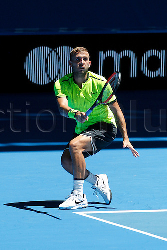 04.01.2017. Perth Arena, Perth, Australia. Mastercard Hopman Cup International Tennis tournament. Dan Evans (ENG) plays a fore hand shot during his game against Richard Gasquet (FRA). Gasquet won 6-4, 6-2.