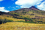 mountain side meadow prairie blue sky and white clouds in Waterton Lakes National Park Alberta Canada