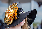 June 8, 2019 : A woman wears a black and gold hat on Belmont Stakes Festival Saturday at Belmont Park in Elmont, New York. Scott Serio/Eclipse Sportswire/CSM