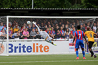 Crystal Palace goalkeeper, Kleton Perntreou dives in vain as Tony Pigott scores Maidstone's opening goal from a free-kick during Maidstone United  vs Crystal Palace, Friendly Match Football at the Gallagher Stadium on 15th July 2017