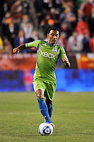 James Riley (7) of the Seattle Sounders. The New York Red Bulls defeated the Seattle Sounders 1-0 during a Major League Soccer (MLS) match at Red Bull Arena in Harrison, NJ, on March 19, 2011.
