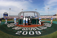 The University of North Carolina Tar Heels take batting practice prior to a 2009 College World Series game at Rosenblatt Stadium in Omaha, NE. (Photo by Michelle Bishop)