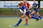 GER - Mannheim, Germany, April 22: During the German Hockey Bundesliga women match between Mannheimer HC (blue) and Club an der Alster (red) on April 22, 2017 at Am Neckarkanal in Mannheim, Germany. Final score 1-1 (HT 1-0).   Maria Tost #19 of Mannheimer HC<br /> <br /> Foto &copy; PIX-Sportfotos *** Foto ist honorarpflichtig! *** Auf Anfrage in hoeherer Qualitaet/Aufloesung. Belegexemplar erbeten. Veroeffentlichung ausschliesslich fuer journalistisch-publizistische Zwecke. For editorial use only.
