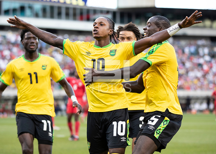 PHILADELPHIA, PA - JUNE 30: Darren Mattocks #10 celebrates after his goal during a game between Jamaica and Panama at Lincoln Field on June 30, 2019 in Philadelphia, Pennsylvania.