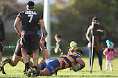 Fotu Lokotui dives over in the corner to score for Patumahoe. Counties Manukau Premier Club Rugby game between Patumahoe & Bombay, played at Patumahoe on Saturday June 18th 2016. Patumahoe won the game 27 - 15 after leading 9 - 3 at halftime. Photo by Richard Spranger.