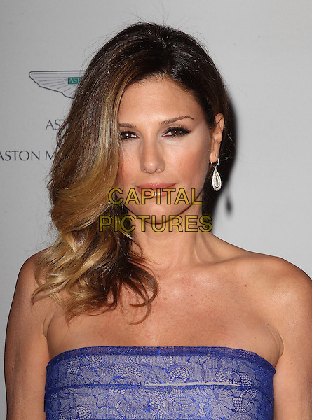 Daisy Fuentes.20th Annual Race To Erase MS Gala held at the Hyatt Regency Century Plaza Hotel, Century City, California, USA, 3rd May 2013..portrait headshot strapless blue lace striped  earring beauty .CAP/ADM/KB.©Kevan Brooks/AdMedia/Capital Pictures