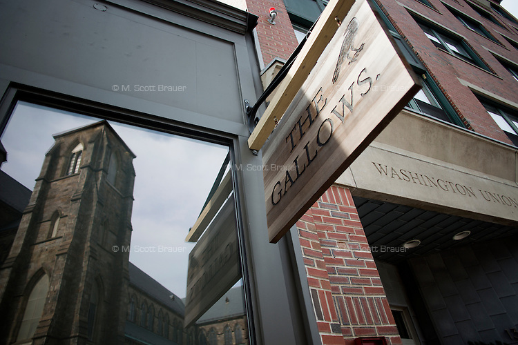 Exterior view of The Gallows Restaurant on Washington Street in the South End neighborhood of Boston, Massachusetts, USA.