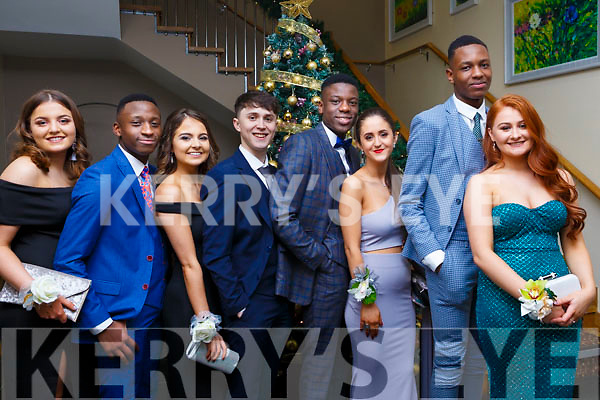Attending the Mercy Mounthawk debs in the Ballyroe Heights Hotel on Thursday night last, l to r, Lucy O'Sullivan, JR Tshikotn, Saibh Norris, Odhran Liston, Lekam Abeyo, Ori Beqaj, Osaz Odiahi and Rebecca Dennehy.