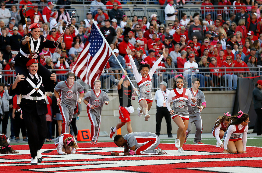 Ohio State's band and cheerleaders celebrate a Buckeye touchdown during the NCAA football game against the Indiana Hoosiers at Ohio Stadium in Columbus on Oct. 8, 2016. (Adam Cairns / The Columbus Dispatch)
