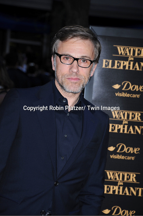 "actor Christoph Waltz attending The Premiere of ""Water For Elephants"" on    April 17, 2011 at The Ziegfeld Theatre in New York City. The stars of the movie are Reese Witherspoon, Robert Pattinson, Christoph Waltz and Hall Holbrook."