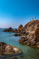 Spanien, Andalusien, Provinz Almería, Costa de Almería, Cabo de Gata: Naturpark, Kueste, Leuchtturm   Spain, Andalusia, Province Almería, Costa de Almería, Cabo de Gata: nature reserve, coastline, lighthouse