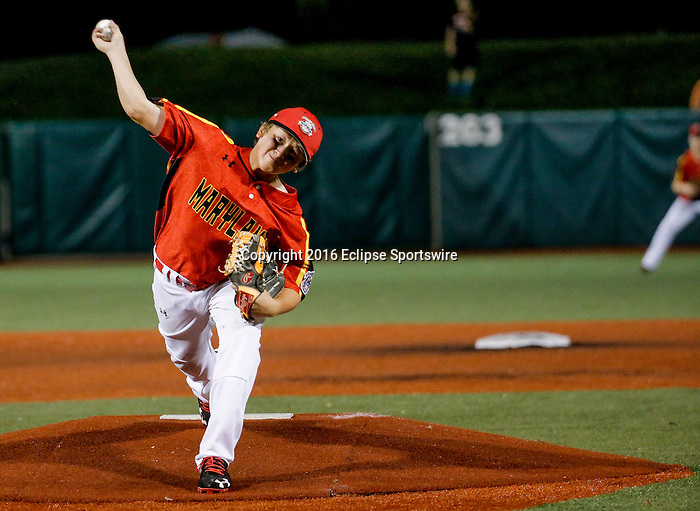 ABERDEEN, MD - AUGUST 01: Jack Snyder #21 of Bel Air (MD) pitches in the 1st inning during a game between Pacific Southwest and Maryland during the Cal Ripken World Series at The Ripken Experience Powered by Under Armour on August 1, 2016 in Aberdeen, Maryland. (Photo by Ripken Baseball/Eclipse Sportswire/Getty Images)