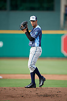 West Michigan Whitecaps starting pitcher Jesus Rodriguez (5) gets ready to deliver a pitch during a game against the Fort Wayne TinCaps on May 17, 2018 at Parkview Field in Fort Wayne, Indiana.  Fort Wayne defeated West Michigan 7-3.  (Mike Janes/Four Seam Images)