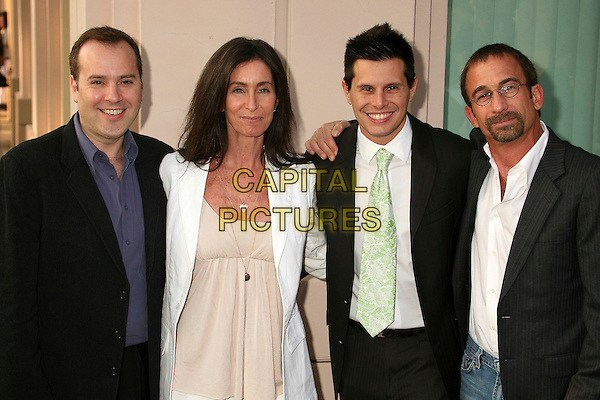 "MARCO PENNETTE (EXECUTIVE PRODUCER), TERI WEINBERG (CO-EXECUTIVE PRODUCER), SILVIO HORTA (CREATOR / EXECUTIVE PRODUCER) & JAMES HAYMAN (DIRECTOR).An Evening with ""Ugly Betty"", presented by the Academy of Television Arts and Sciences at the Leonard Goldenson Theater, North Hollywood, California, USA..April 30th, 2007.half length black white suit jacket .CAP/ADM/BP.©Byron Purvis/AdMedia/Capital Pictures"