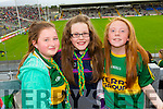 Emma O'Regan (Castleisland) with Edel Brosnan and Ciara Fitzgerald (Currow), pictured at the Kerry v Cork Munster Final in Fitzgerald Stadium, Killarney on Saturday evening.