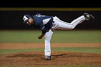 AZL Padres 2 relief pitcher Hazahel Quijada (28) follows through on his delivery during an Arizona League game against the AZL Padres 1 at Peoria Sports Complex on July 14, 2018 in Peoria, Arizona. The AZL Padres 1 defeated the AZL Padres 2 4-0. (Zachary Lucy/Four Seam Images)