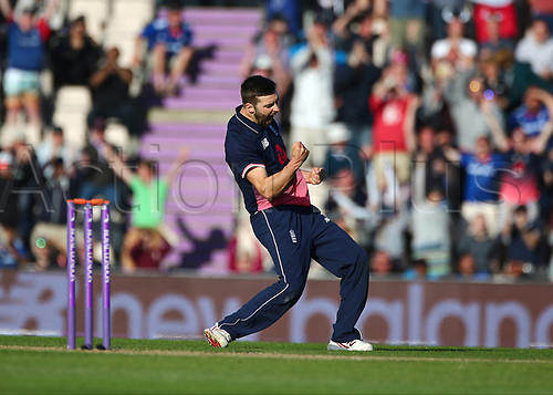 May 27th 2017, Ageas Bowl, Southampton, Hampshire, England, One Day Cricket International England versus South Africa; Mark Wood of England celebrates the England  win after he bowls the final ball