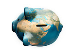 Piggy bank with the world map on it representing global economy. Isolated on white background with clipping path