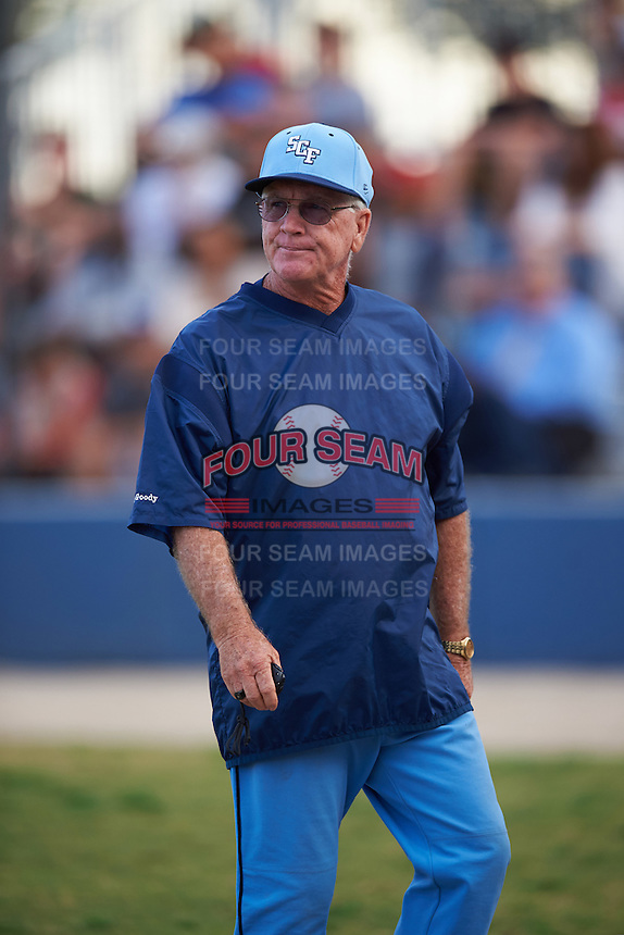 SCF Manatees coach Dave Moates during a game against the College of Central Florida Patriots on February 8, 2017 at Robert C. Wynn Field in Bradenton, Florida.  SCF defeated Central Florida 6-5 in eleven innings.  (Mike Janes/Four Seam Images)