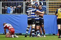Taulupe Faletau of Bath Rugby celebrates his second try of the match with team-mates. Aviva Premiership match, between Bath Rugby and Gloucester Rugby on April 30, 2017 at the Recreation Ground in Bath, England. Photo by: Patrick Khachfe / Onside Images