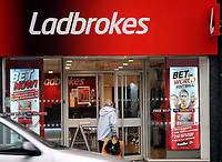 Betting shop, Ladbrookes, in Cardiff, Wales, UK<br /> 26-Sept-13
