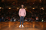 "Deon'te Goodman during the eduHAM Q & A before The Rockefeller Foundation and The Gilder Lehrman Institute of American History sponsored High School student #EduHam matinee performance of ""Hamilton"" at the Richard Rodgers Theatre on November 20, 2019 in New York City."