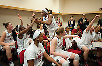 FRESNO, CA--Nneka Ogwumike is congratulated by her teammates  after a 76-60 win over South Carolina at the Save Mart Center for the West Regionals semifinals of the 2012 NCAA Championships.