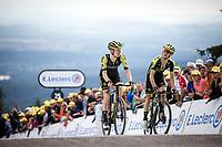 Jack Haig (AUS/Mitchelton Scott) and Simon Yates (AUS/Mitchelton Scott) finishing atop La Planche des Belles Filles.<br /> <br /> Stage 6: Mulhouse to La Planche des Belles Filles (157km)<br /> 106th Tour de France 2019 (2.UWT)<br /> <br /> ©kramon