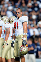 Sept. 19, 2009; Provo, UT, USA; Florida State Seminoles tight end (81) Caz Piurowski against the BYU Cougars at LaVell Edwards Stadium. Florida State defeated BYU 54-28. Mandatory Credit: Mark J. Rebilas-