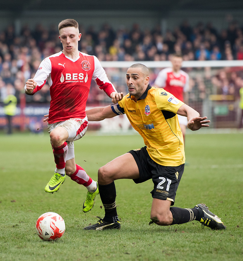 Fleetwood Town's Ashley Hunter battles with  Bolton Wanderers' Darren Pratley<br /> <br /> Photographer Terry Donnelly/CameraSport<br /> <br /> The EFL Sky Bet League One - Fleetwood Town v Bolton Wanderers - Saturday 11th March 2017 - Highbury Stadium - Fleetwood<br /> <br /> World Copyright &copy; 2017 CameraSport. All rights reserved. 43 Linden Ave. Countesthorpe. Leicester. England. LE8 5PG - Tel: +44 (0) 116 277 4147 - admin@camerasport.com - www.camerasport.com