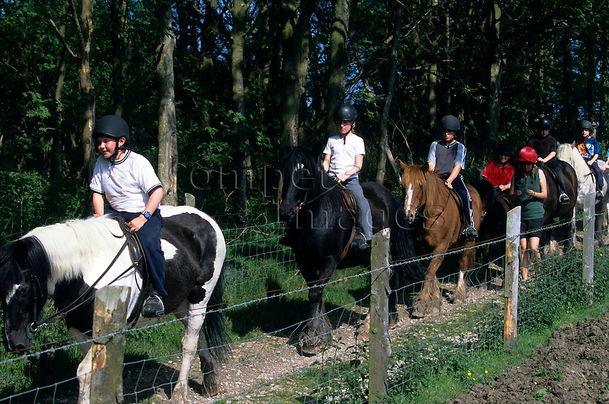 Group of horse riders on a trail