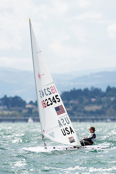 SANTANDER, SPAIN - SEPTEMBER 18:  Laser - USA182345 - Charlie Buckingham in action during Day 7 of the 2014 ISAF Sailing World Championships on September 18, 2014 in Santander, Spain.  (Photo by MickAnderson/SAILINGPIX via Getty Images)