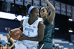 09 November 2015: North Carolina's Rachel McGirt (1) and Mount Olive's China Marshall (behind). The University of North Carolina Tar Heels hosted the University of Mount Olive Trojans at Carmichael Arena in Chapel Hill, North Carolina in a 2015-16 NCAA Women's Basketball exhibition game. UNC won the game 99-45.