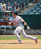 Richmond Flying Squirrels infielder  Adam Duvall (8) during game against the New Britain Rock Cats at New Britain Stadium on May 30, 2013 in New Britain, CT.  New Britain defeated Richmond 2-1.  (Tomasso DeRosa/Four Seam Images)