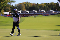 Ryan Moore (Team USA) on the 16th green during Sunday Singles matches at the Ryder Cup, Hazeltine National Golf Club, Chaska, Minnesota, USA.  02/10/2016<br /> Picture: Golffile | Fran Caffrey<br /> <br /> <br /> All photo usage must carry mandatory copyright credit (&copy; Golffile | Fran Caffrey)