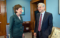 United States Senator Susan Collins (Republican of Maine), left, meets Judge Merrick Garland, chief justice for the US Court of Appeals for the District of Columbia Circuit, right, who is US President Barack Obama's selection to replace the late Associate Justice Antonin Scalia on the US Supreme Court, left, as the Judge arrives for a photo op on Capitol Hill in Washington, DC on Tuesday, March 29, 2016.  Kirk is the first GOP Senator to meet with Garland. Photo Credit: Ron Sachs/CNP/AdMedia