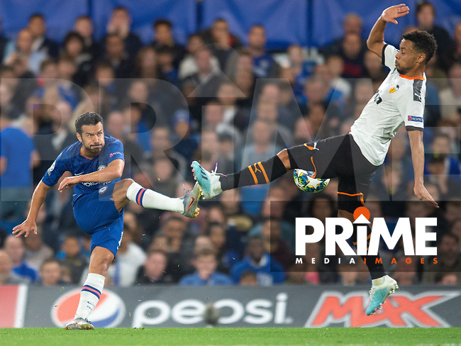 Chelsea's Pedro during the UEFA Champions League match between Chelsea and Valencia  at Stamford Bridge, London, England on 17 September 2019. Photo by Andrew Aleksiejczuk / PRiME Media Images.