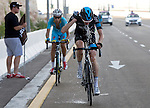 Wouter Poels (NED) Team Sky tries to cool down as Fabio Aru (ITA) Astana follows during Stage 3, The Al Ain Stage, of the 2015 Abu Dhabi Tour starting from the Al Qattara Souq in Al Ain and running 129 km to the mountain top finish at Jebel Hafeet at 1025 metres, Abu Dhabi. 10th October 2015.<br /> Picture: ANSA/Claudio Peri | Newsfile