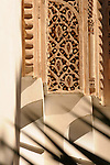 A decorative detail in the Bahia Palace in Marrakesh, Morocco