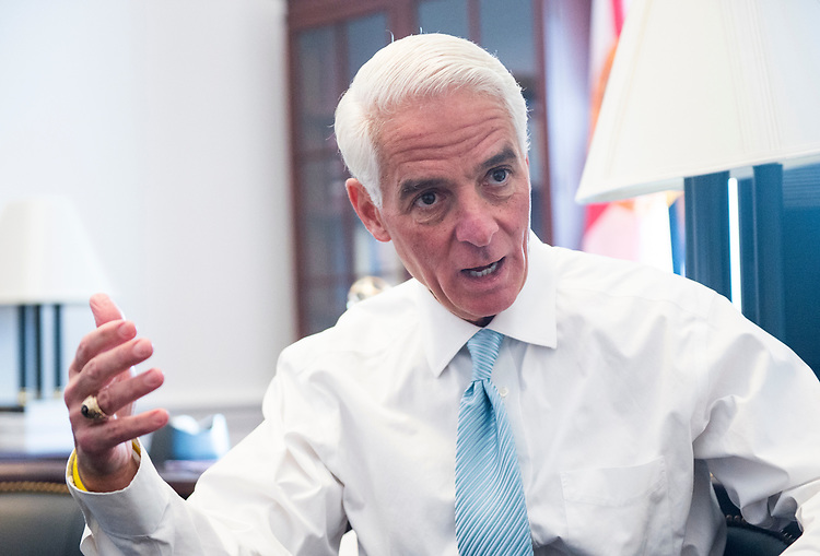 UNITED STATES - MARCH 16: Rep. Charlie Crist, D-Fla., speaks with Roll Call in his office in Washington on Thursday, March 16, 2017. (Photo By Bill Clark/CQ Roll Call)